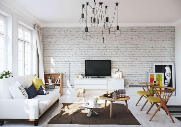 Белая стена в интерьере фото