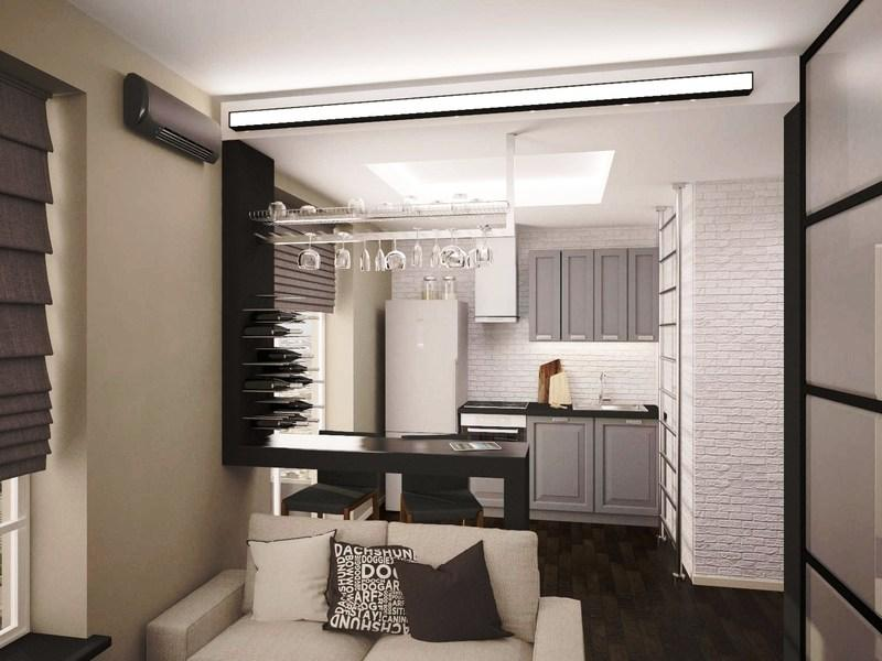 Совмещенный зал с кухней