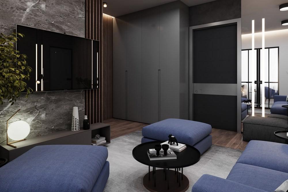 Современный дизайн с синим диваном