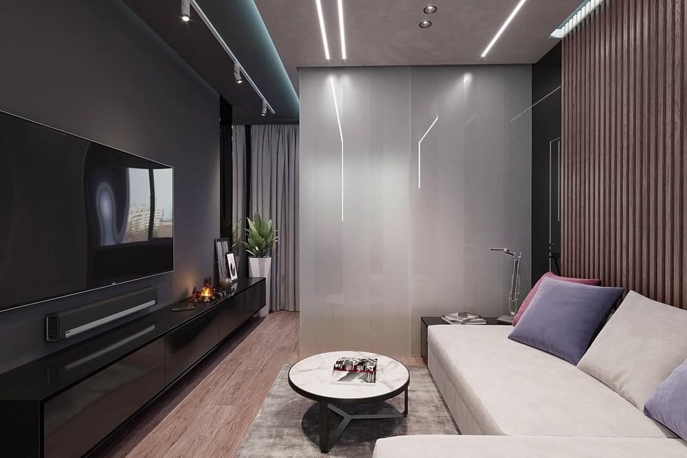 Бюджетный интерьер с белым диваном