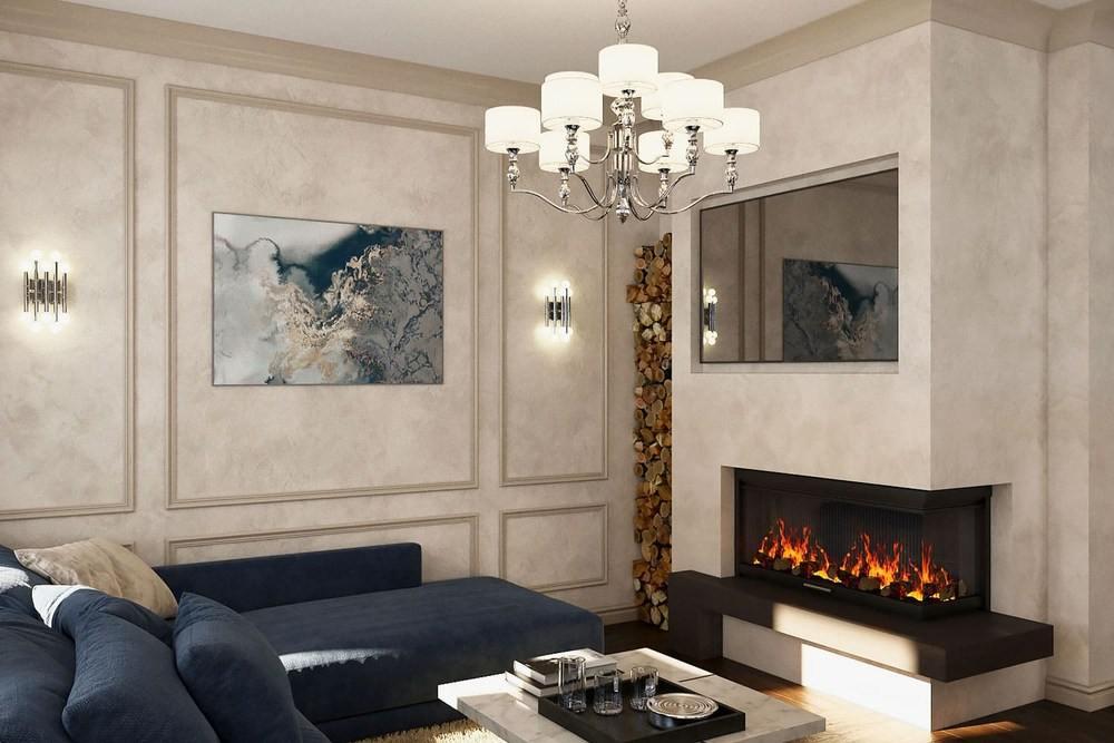 Дизайн гостиной c синим диваном