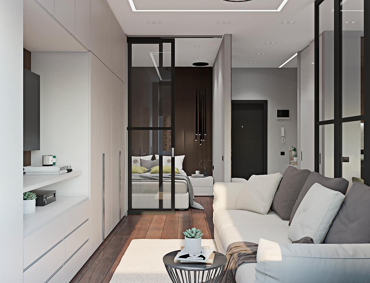 Белая мебель до потолка