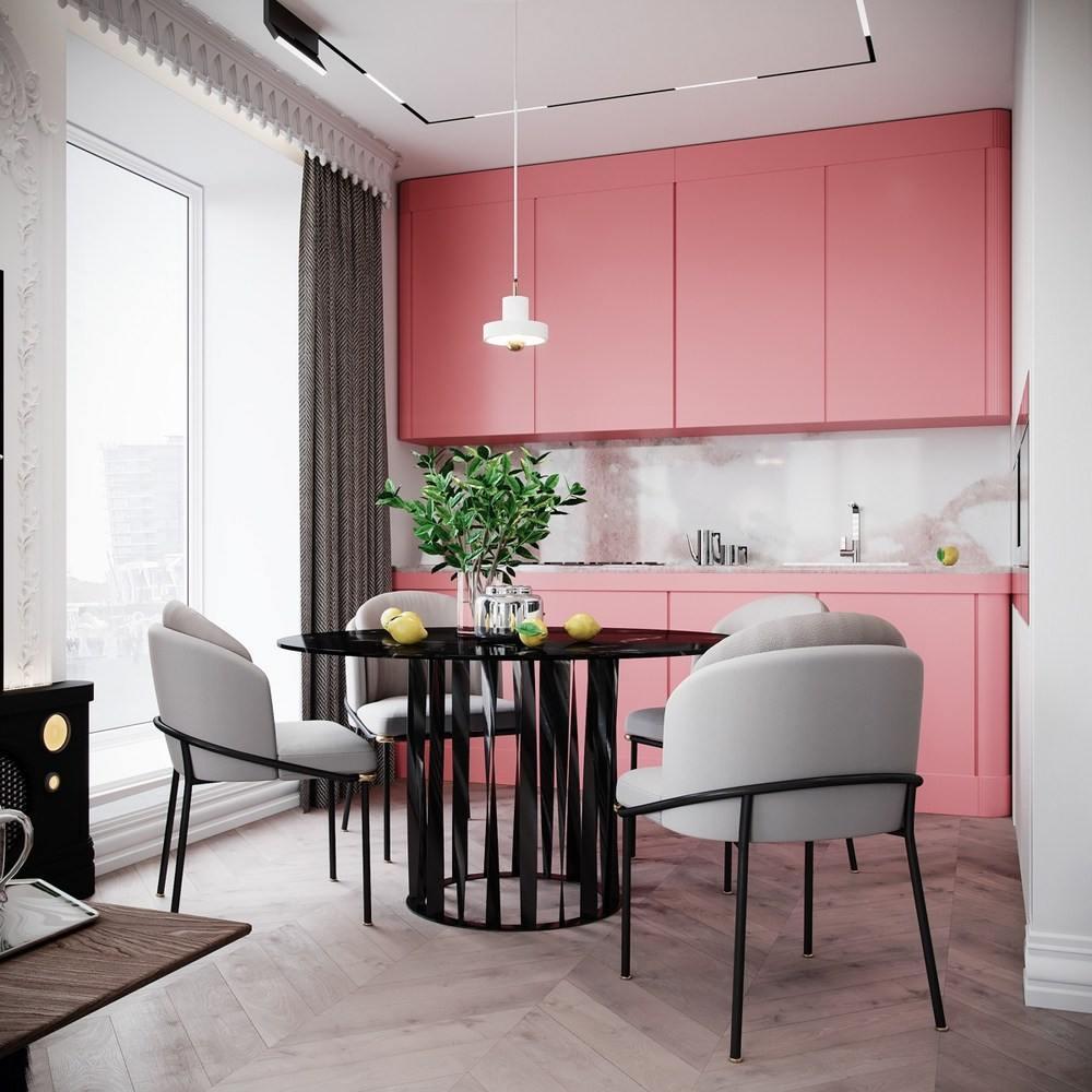 9м дизайн интерьера с розовым гарнитуром