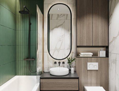 Интерьер ванной объединенной с туалетом в современной квартире или доме