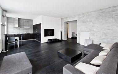 Сочетание серого и белого цвета в гостиной