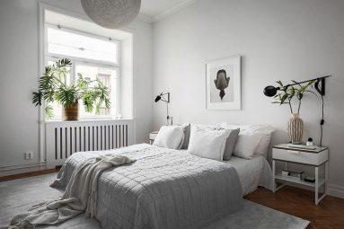 серого и белого в дизайне спальни фото