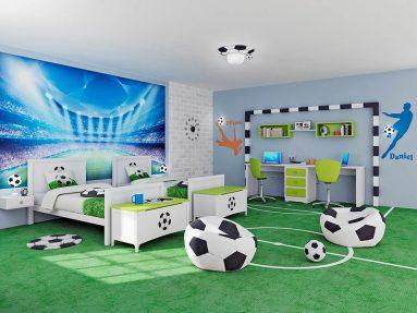 Комната для мальчика, который увлекается футболом