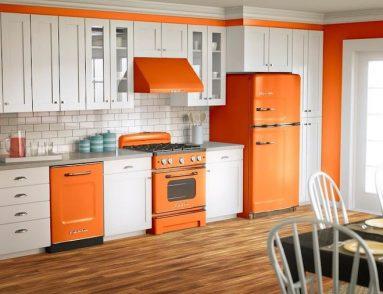 роскошный интерьер с оранжевыми фасадами