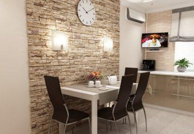 Фото кухни с декоративным камнем на стене
