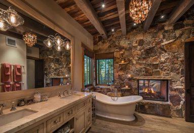 Деревенский стиль в интерьер ванной