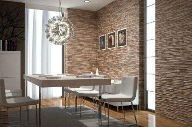 Идея кухни с декоративным камнем