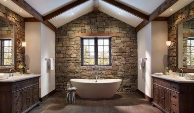 Красивый декоративный камень в ванной