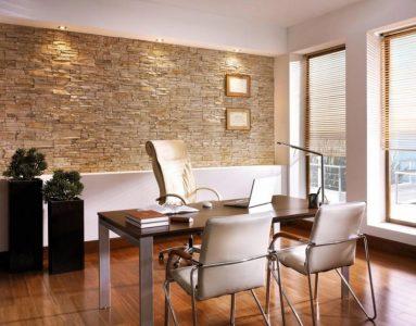Фото кабинета с декоративным камнем