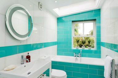 Дизайн ванной в бирюзовом