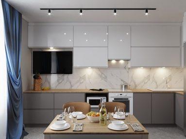 простой современный дизайн кухни в квартире