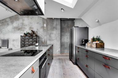 Идеи с бетонном в кухне