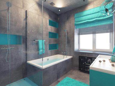 Интерьер ванной в бирюзовом