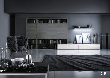 Сочетание темно – серого цвета в гостиной