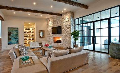 Интерьер гостиной с белым камнем