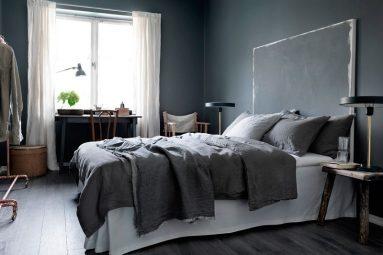Сочетание темно – серого в спальне