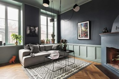 Темно – серый цвет в гостиной