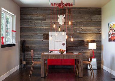Деревянная стена на кухне