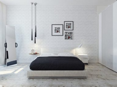Белая кирпичная стена за кроватью фото