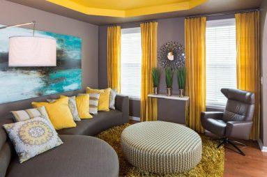 Серый и желтый в дизайне интерьере фото