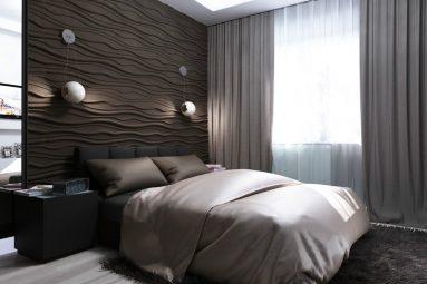 Идея для использования 3D панель в спальне