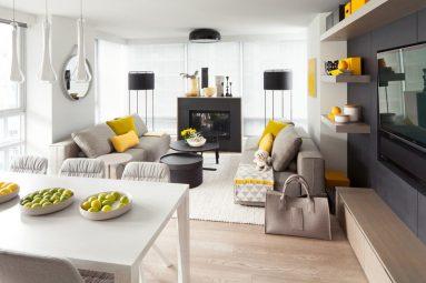 Сочетание серого и желтого цвета в гостиной