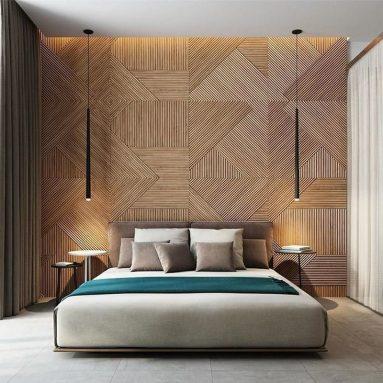 3D панель в спальне