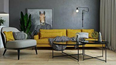 Серый и желтый цвет в дизайне фото