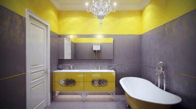 Сочетание серого и желтого в ванной фото