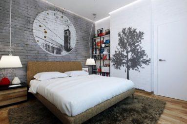 Серая кирпичная стена с рисунком