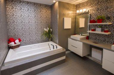 Дизайн ванной в современном стиле с обоями