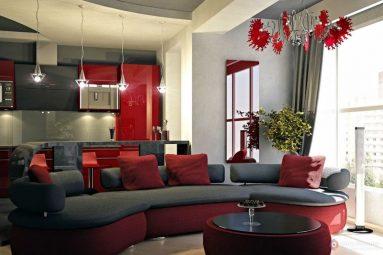 красный и серый цвета в гостиной