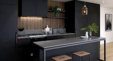 интерьер с черной мебелью