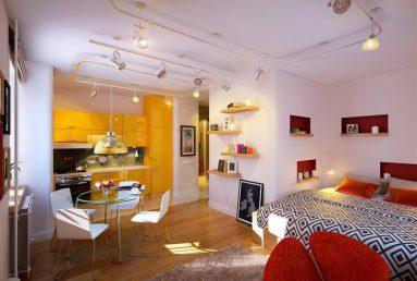 дизайн кухни - гостиной в маленьком помещении