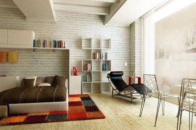 спальня с книжной полкой