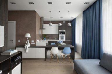 кухня - гостиная в минимализме