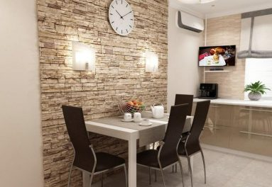 Фото кухни с камнем