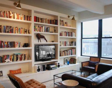 Идеи для книжных полок в гостиной