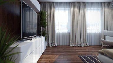 Белый тюль в гостиной