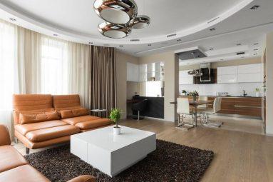 Кожаный диван в современном стиле