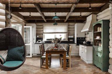 Кухня в интерьере из дерева