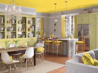 Желтый и серый на кухне