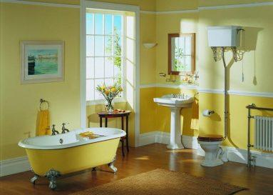 Два оттенка желтого в ванной