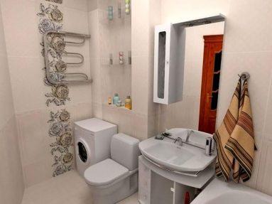 Интерьер ванной совмещенной с туалетом