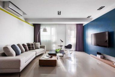 Синяя стена в дизайне