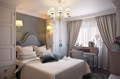 Дизайн спальни со светлой мебелью и темными обоями